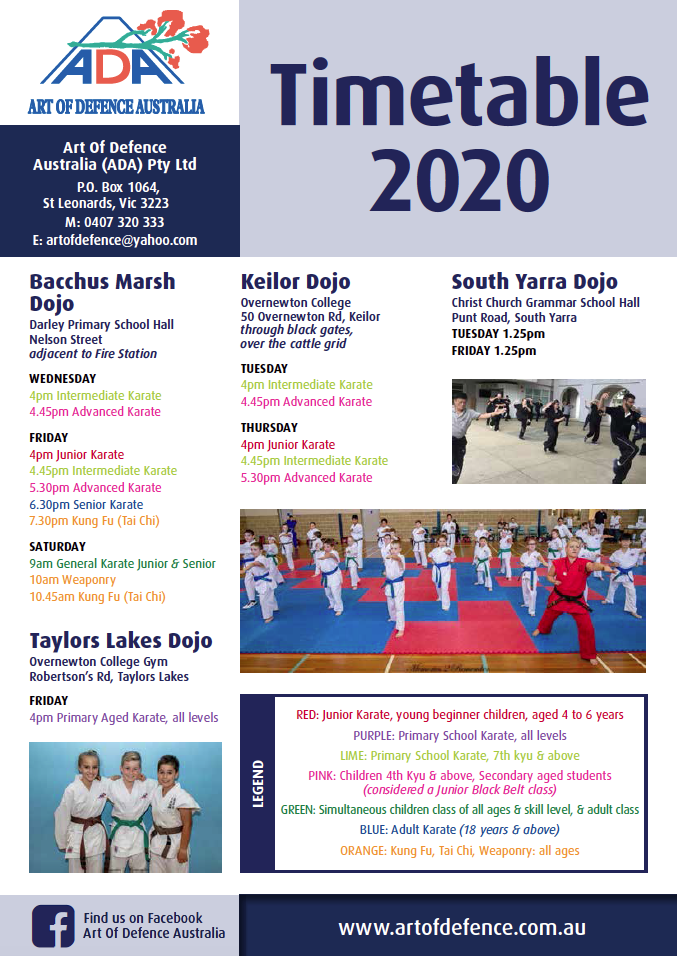 2020 Location and Training Times | Art of Defence Australia